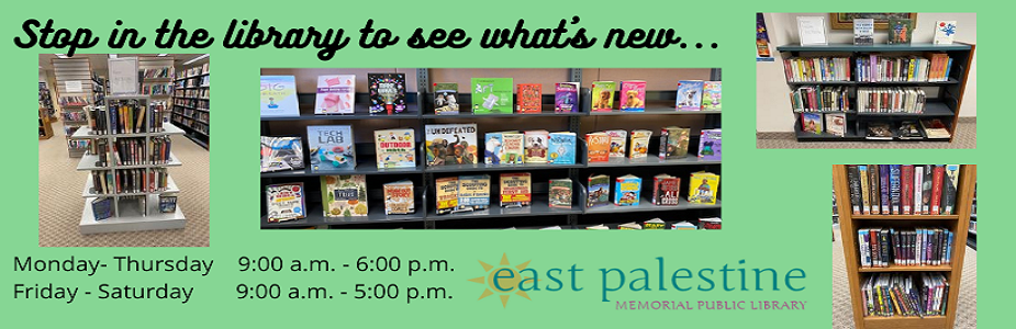 Stop in to see what's new with book shelves pictured